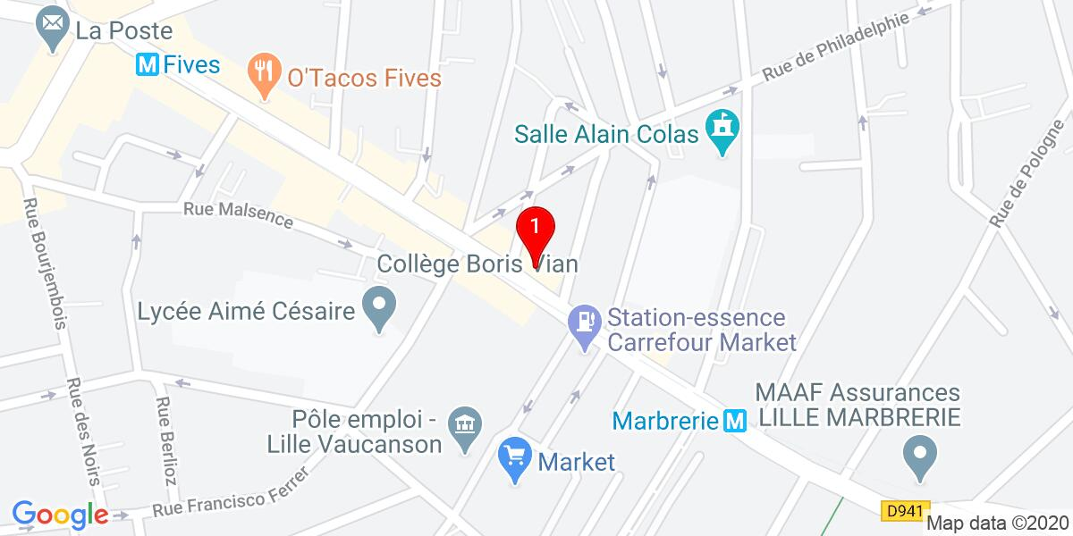 Google Map of 227 rue pierre legrand lille